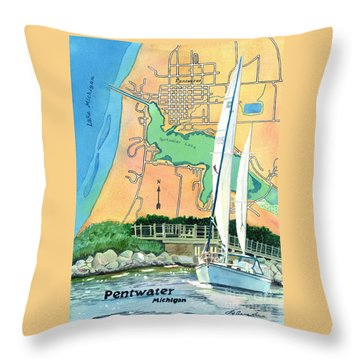 Pentwater Treasure Map Throw Pillow