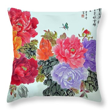 Peonies And Birds Throw Pillow by Yufeng Wang