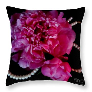 Peonies And Pearls 2 Throw Pillow by Margaret Newcomb