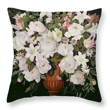 Peonies And Wisteria Throw Pillow by Lizzie Riches