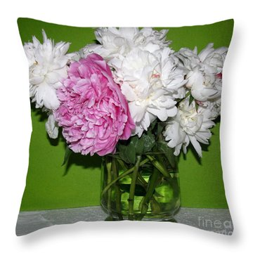 Throw Pillow featuring the photograph Peonies Bouquet 3 by Margaret Newcomb