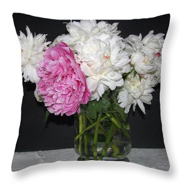 Throw Pillow featuring the photograph Peonies Bouquet 4 by Margaret Newcomb