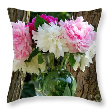 Peonies Throw Pillow by France Laliberte