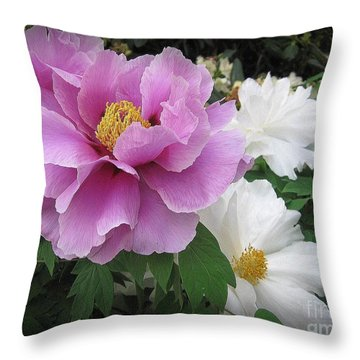 Peonies In White And Lavender Throw Pillow