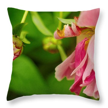 Throw Pillow featuring the photograph Peony Flower With Bud by Suzanne Powers