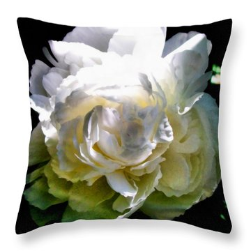Peony In Morning Sun Throw Pillow by Michelle Calkins