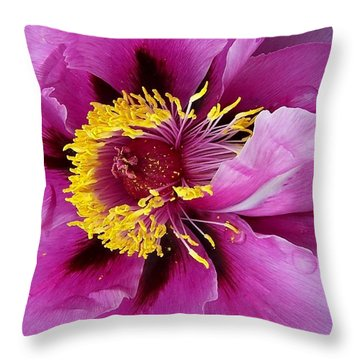 Peony Revealed Throw Pillow