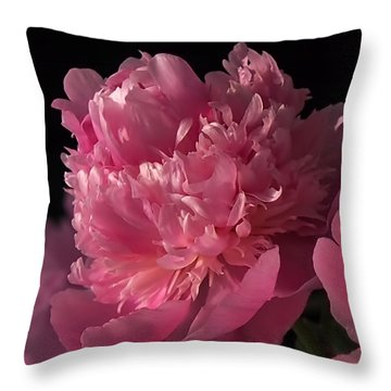 Peony Throw Pillow by Rona Black