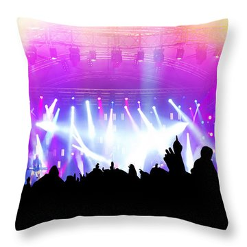 People On Music Concert Disco Party Throw Pillow by Michal Bednarek