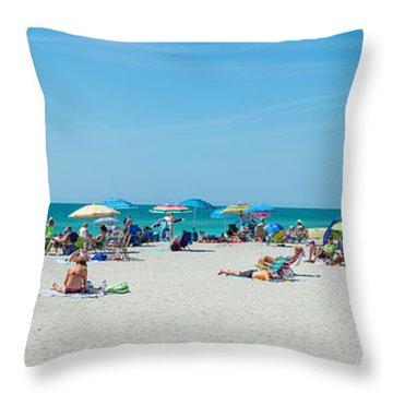 People On The Beach, Venice Beach, Gulf Throw Pillow
