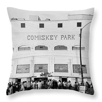 People Outside A Baseball Park, Old Throw Pillow
