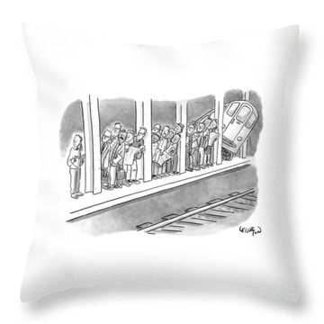 People Waiting For A Subway Peek Onto The Tracks Throw Pillow