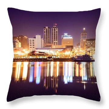 Peoria Illinois At Night Downtown Skyline Throw Pillow by Paul Velgos