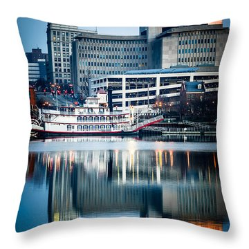 Peoria Illinois Cityscape And Riverboat Throw Pillow by Paul Velgos