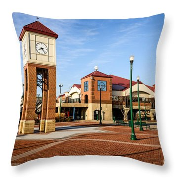 Peoria Illinois Riverfront Businesses And Clock Tower Throw Pillow by Paul Velgos
