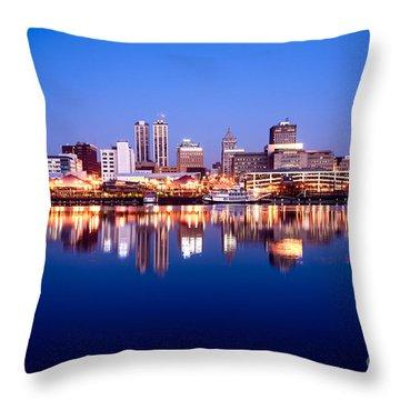 Peoria Illinois Skyline At Night Throw Pillow by Paul Velgos