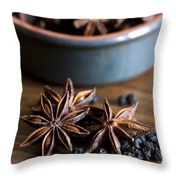 Pepper And Spice Throw Pillow by Anne Gilbert