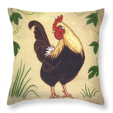Pepper The Rooster Throw Pillow by Linda Mears