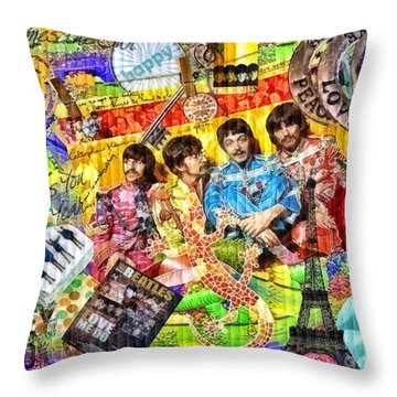 Pepperland Throw Pillow by Mo T