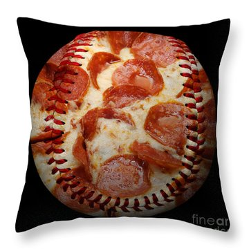 Pepperoni Pizza Baseball Square Throw Pillow by Andee Design