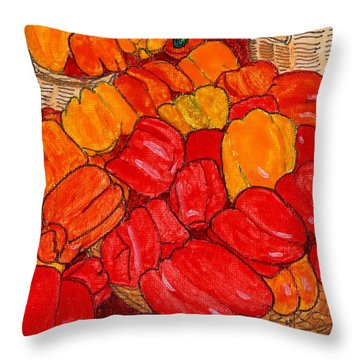Peppers Galore Throw Pillow