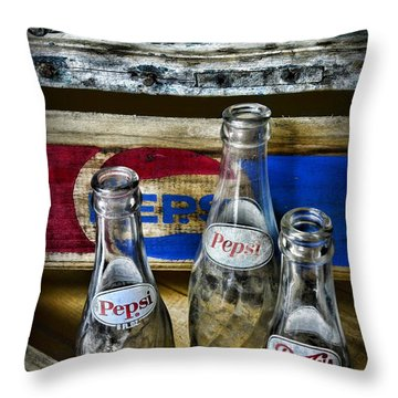 Pepsi Bottles And Crates Throw Pillow