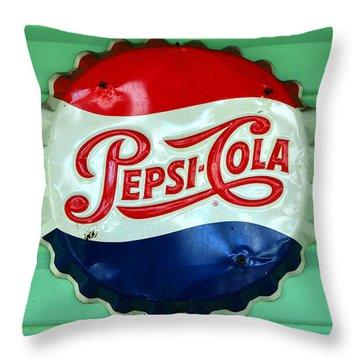 Pepsi Cap Throw Pillow by David Lee Thompson