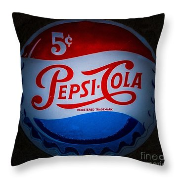 Throw Pillow featuring the photograph Pepsi Cap Sign by Mitch Shindelbower
