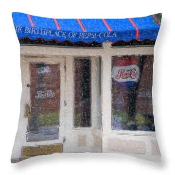 Pepsi Cola Birthplace Watercolor Throw Pillow