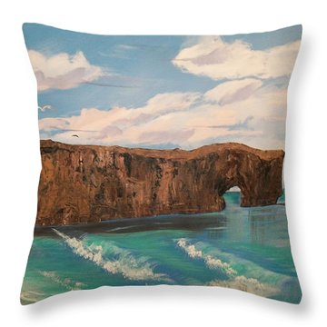 Throw Pillow featuring the painting Perce Rock by Sharon Duguay