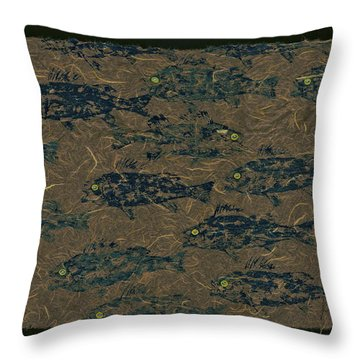 Perch School On Mocha Unryu Paper Throw Pillow