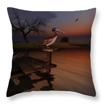 Throw Pillow featuring the digital art Perch With A View by Kylie Sabra