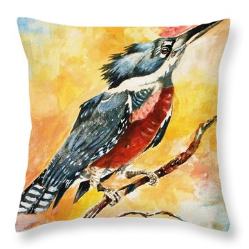 Perched Kingfisher Throw Pillow by Al Brown