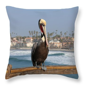 Throw Pillow featuring the photograph Perched On The Pier by Christy Pooschke