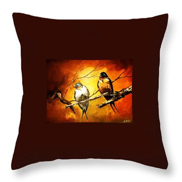 Perched Swallows Throw Pillow