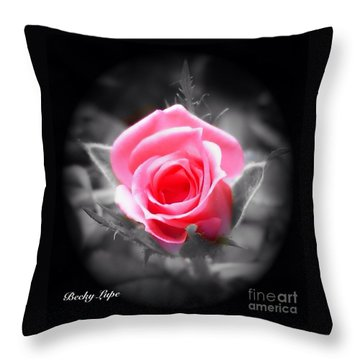Perfect Rosebud In Black Throw Pillow
