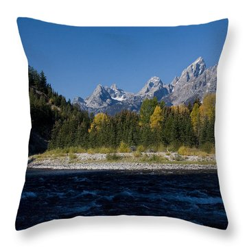 Perfect Spot For Fishing With Grand Teton Vista Throw Pillow