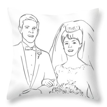 Throw Pillow featuring the drawing Perfect Wedding by Olimpia - Hinamatsuri Barbu