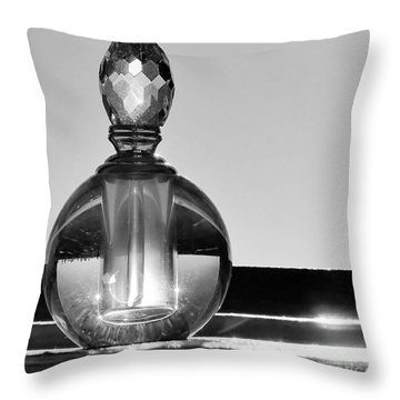 Throw Pillow featuring the photograph Perfume Bottle Inversion by Lilliana Mendez