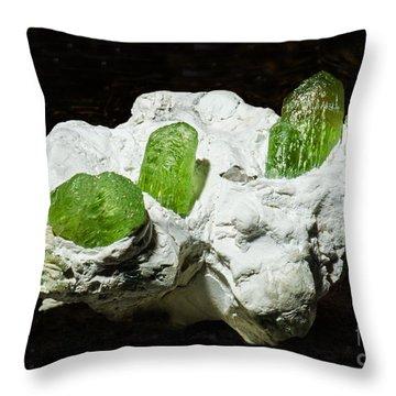 Peridot Crystals Throw Pillow by Millard H. Sharp