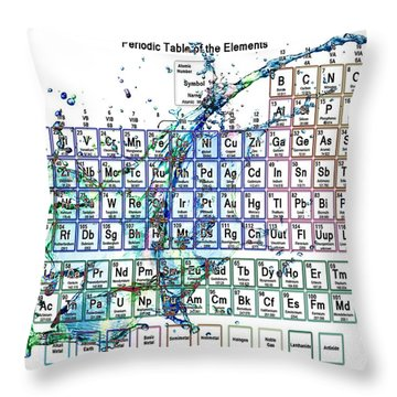 Periodic Table Colorful Liquid Splash Throw Pillow by Eti Reid