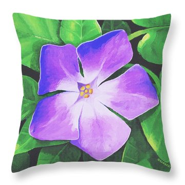 Throw Pillow featuring the painting Periwinkle by Sophia Schmierer