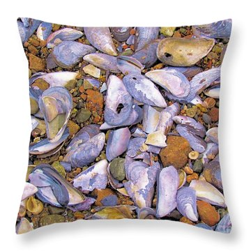 Periwinkles Muscles And Clams Throw Pillow by Elizabeth Dow