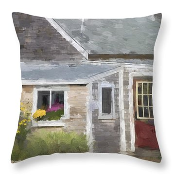 Perkins Cove Maine Painterly Effect Throw Pillow