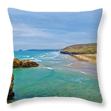 Perranporth Beach Throw Pillow