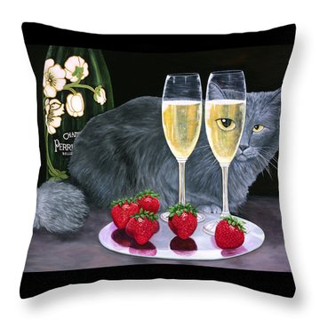 Throw Pillow featuring the painting Perrier Jouet Et Le Chat by Karen Zuk Rosenblatt