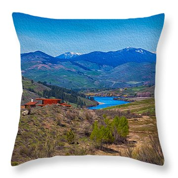 Throw Pillow featuring the painting Perrygin Lake In The Methow Valley Landscape Art by Omaste Witkowski