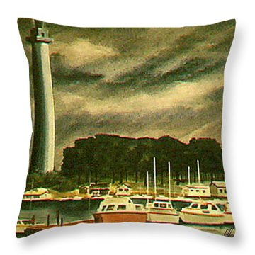 Perrys Monument On Put In Bay Throw Pillow