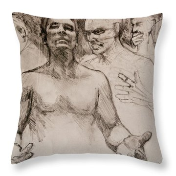 Persecution Sketch Throw Pillow