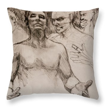 Throw Pillow featuring the drawing Persecution Sketch by Jani Freimann
